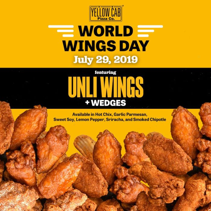 Yellow Cab Pizza World Wings Day - Unli Wings + Wedges