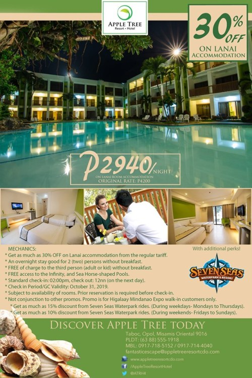 30% OFF on Lanai Accommodation and discount to Seven Seas