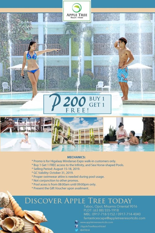 Apple Tree Resort & Hotel Buy 1 and Get 1 for FREE Pool Access
