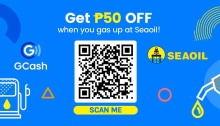 Get P50 off when you gas up at SEAOIL using GCash FI