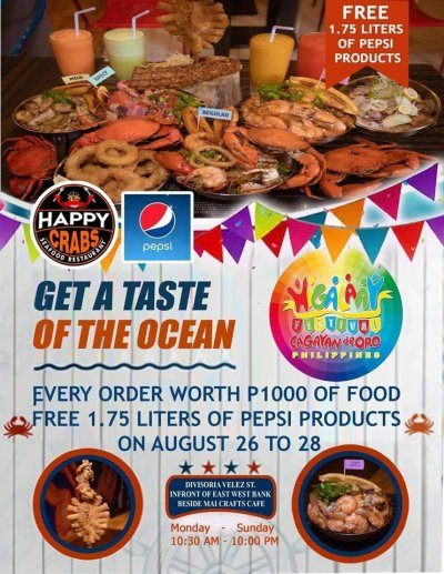 HAPPY CRABS Seafood Restaurant FREE Pepsi Products