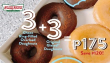 Krispy Kreme 3 Original Glazed and 3 Choco Ring-Filled Overload Doughnuts for P175 FI