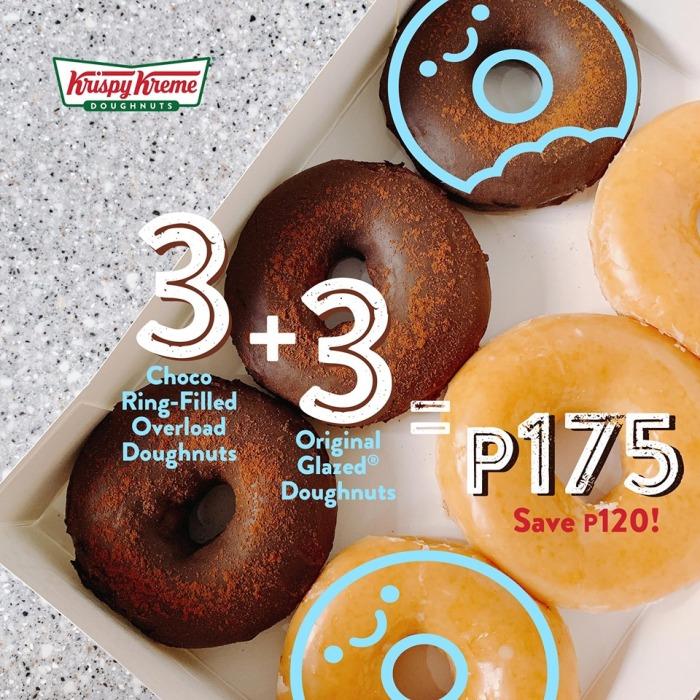 Krispy Kreme 3 Original Glazed and 3 Choco Ring-Filled Overload Doughnuts for P175