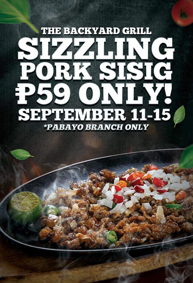 The Backyard Grill Sizzling Pork Sisig Promo