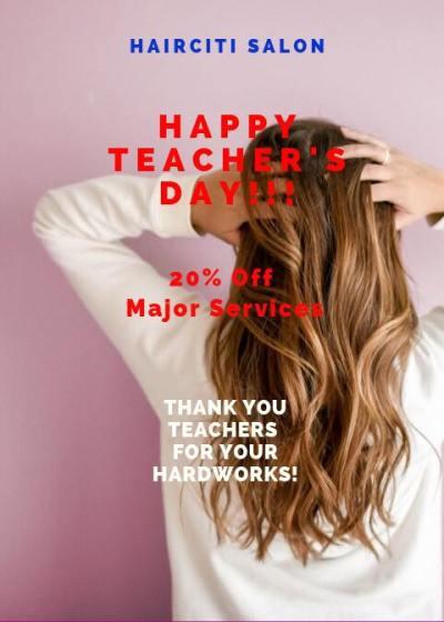 hairciti salon teachers day promo