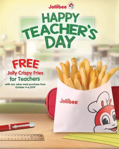 jollibee free fries teachers day promo