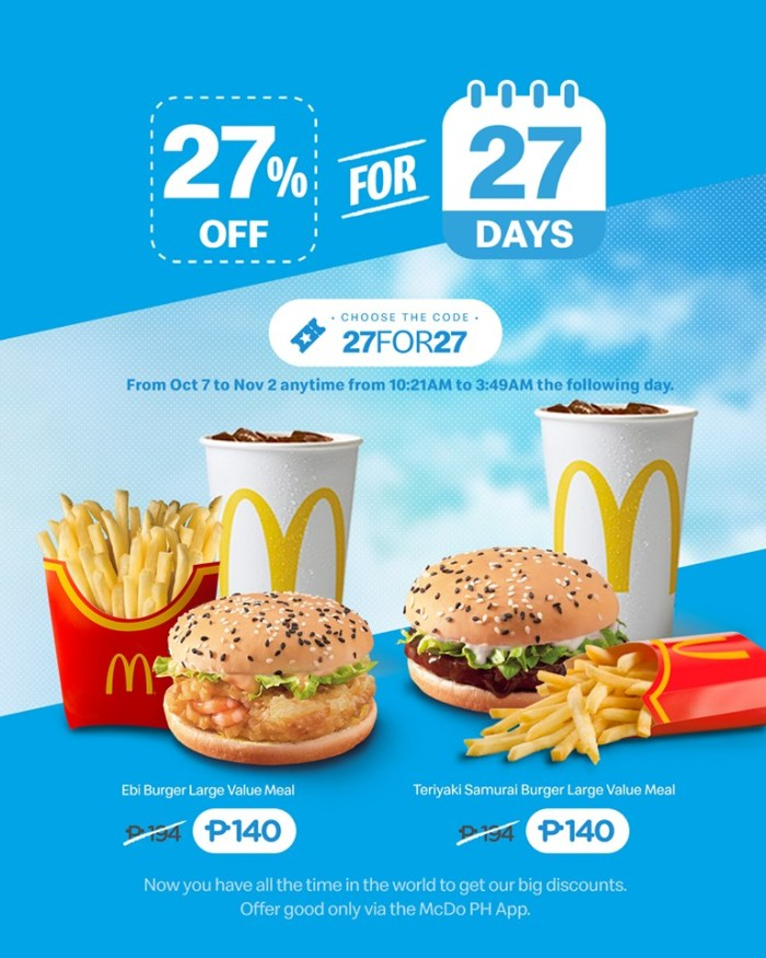McDonald's 27% Off for 27 Days