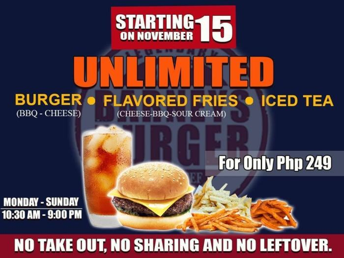 Barneys Burger Unlimited Burger Flavored Fries and Iced Tea