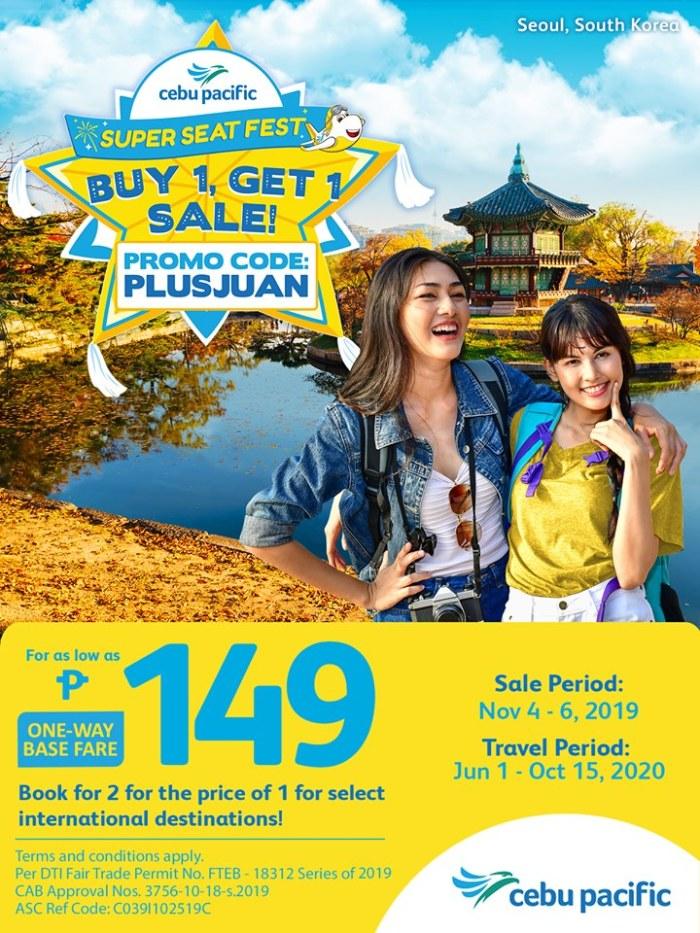 Cebu Pacific Air Super Seat Fest Buy 1 Get 1 Sale